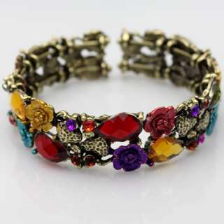 Fascinating Flower Rhinestone Crystal Copper Bangle Cuff Bracelet