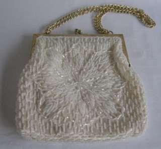 Vintage La Regale Ltd Hand Made Beaded Floral Evening Bag Clutch Purse