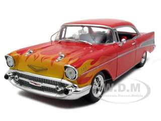 1957 CHEVROLET BEL AIR STREET HOT ROD RED/FLAMES 1/25