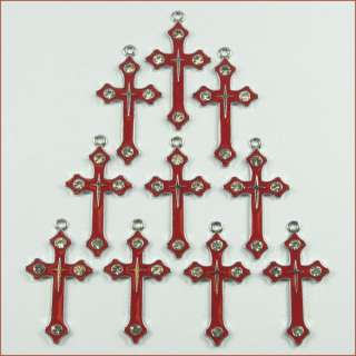 Lot Wholesale Rhinestone 10pcs Red Cross Metal Charm Pendants for
