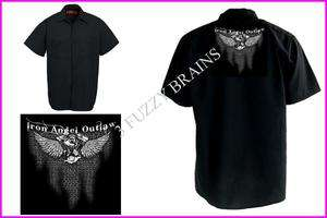 Iron Angel Outlaw Biker Wings Red Kap Black Work Shirt