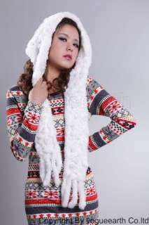 506 new real knit rabbit fur 7 color hat scarf /caps