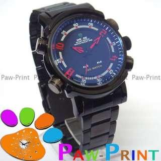 DIGITAL DISPLAY Dual Time Zone Quartz Mens Wrist Watch BLACK DATE