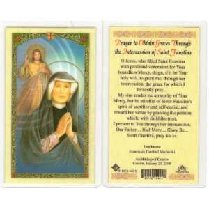 Saint/St. Faustina Holy Prayer Card Divine Mercy