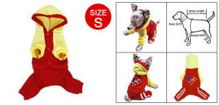 Puppy Dog Red Yellow Hoodie Button down Jump Suit S