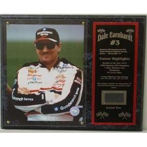 Dale Earnhardt, Sr. Raceused Tire Plaque Sports