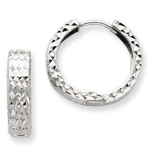 14k Gold White Gold Diamond cut Hinged Hoop Earrings