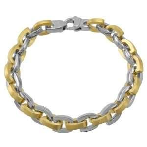 Mens Stainless Steel Two Tone Horseshoe Link Bracelet, 8.5 Jewelry