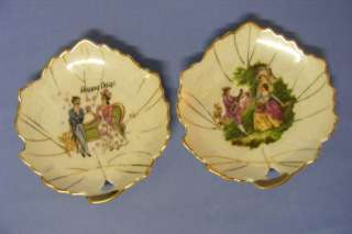 Antique Vintage Pair Small Gold Rimmed Porcelain Plates