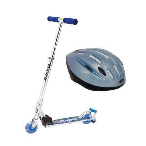 Razor Spark Blue DLX Scooter with Youth Helmet Frost Blue