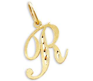 14k Yellow Gold Initial Letter R Pendant