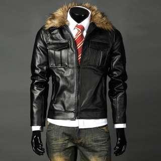 Mens High Qualit Slim Fit Pu Leather Jackets Coats