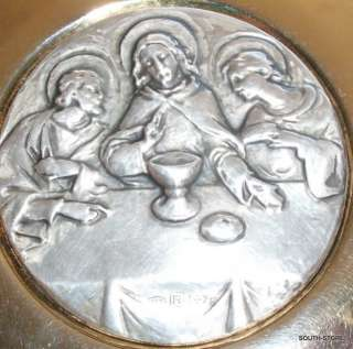 VINTAGE STERLING SILVER & GOLD PLATED COMMUNION PYX. MARKED