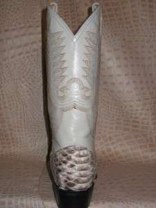 Mens Genuine Python Snake Skin Leather Cowboy Boots