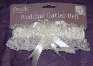 White Satin Lace Brides Wedding Garter New E309