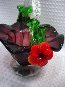 Vintage Antique Art Glass Brides Basket/hand blown Purple Red Orange