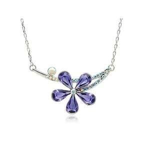Swarovski Crystal Rhinestones Floral Flower Costume Pendant Necklace