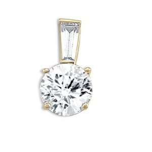 Solitaire Pendant Round CZ 14k Yellow Gold Charm Womens