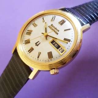 Vintage Mens BULOVA ACCUTRON 218 Calendar   10k Gold Electroplated