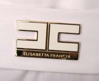 NEW ELISABETTA FRANCHI CELYN B. WHITE STRETCH COTTON LOGO SHIRT TOP W