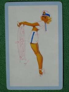 SAILOR GIRL AT THE HELM BOB ELSONS PLAYING CARD MINT VINTAGE