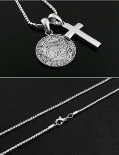 Stylish & Fashionable Mens Necklace   Cross & Coin