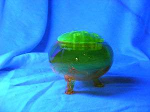 Smith Art Glass Yellow Jonquil Flower Frog Vaseline Top Old Rare Color