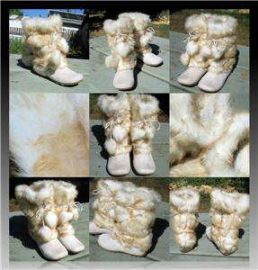 Mukluks SOFT Fluffy Cream Faux FOX FUR Pom pom Snow WINTER Flat ESKIMO
