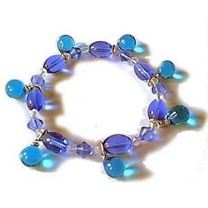 Blues ~ Lampwork Glass Bobble Bead Bracelet Arts, Crafts & Sewing