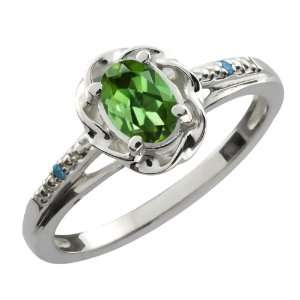0.41 Ct Oval Green Tourmaline Blue Diamond 10K White Gold