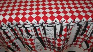 Vintage Red, Black & White Kitchen Gadget Chef Tablecloth