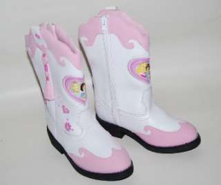 Girls Disney Princess Cowboy Cowgirl Boots 7 Pink & White Light Up