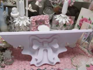 LARGE WOOD PINK BOW PLATE SHELF WALL DECOR~Shabby~Cottage~Chic