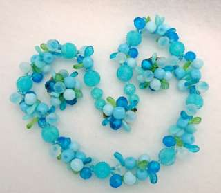 Vintage West Germany Mixed Blue Beads Flower Fruit Leaves Necklace