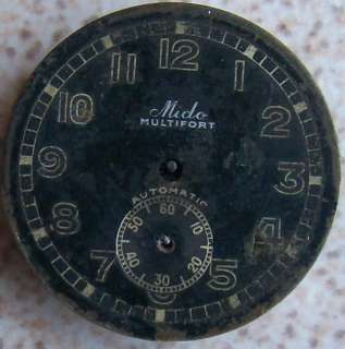 Vintage Mido Multifort automatic bumper, movement and dial, 29 mm. in