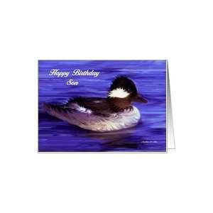 Happy Birthday Son / Duck  water blue Card: Toys & Games