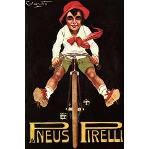 BOY RIDING A BICYCLE BIKE CYCLES PNEUS TIRES 24 X 36