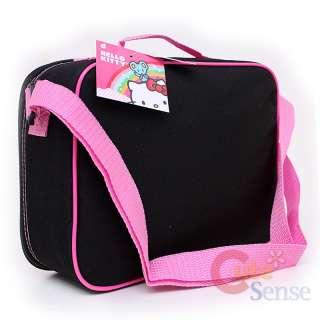 16 Large School Backpack Lunch Bag Set Black Pink Glittering Face