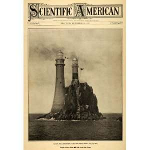 1907 Cover Scientific Fastnet Rock Lighthouse High Tide