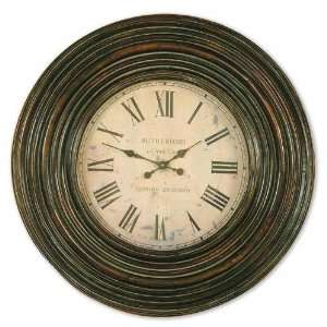 UT06726   Burnished Brown Wood Frame Wall Clock
