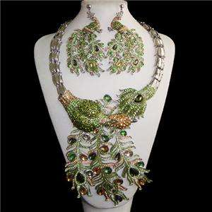 Peacock Bird Earring Necklace Set Swarovski Crystal NEW