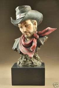 Resin Western Cowboy Bust Statue Figure 8.5High A