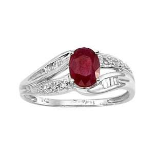 11 ct. Diamond and 1 ct. Oval Shaped Ruby Ring Katarina Jewelry