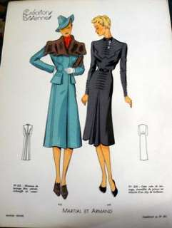 RARE 1930s PARIS SEWING PATTERN FASHION PLATE *ARMAND*