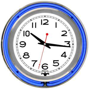 Vintage Neon Light Blue Chrome Round Bar Wall Clock