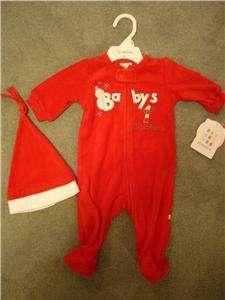NWT Babys FIRST 1st Christmas 2 pc Outfit Set Sleeper Bib Boy Girl
