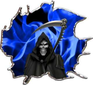 Vinyl graphic decal flame grim reaper race car go kart