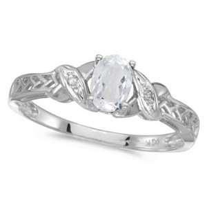 White Topaz and Diamond Antique Style Ring in 14K White