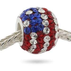 Crystal Charm (Pandora compatible)   Patriotic American Flag Crystals