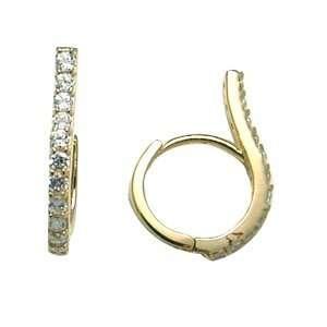 Flourished Decadent CZ 14K Yellow Gold Huggie Earrings